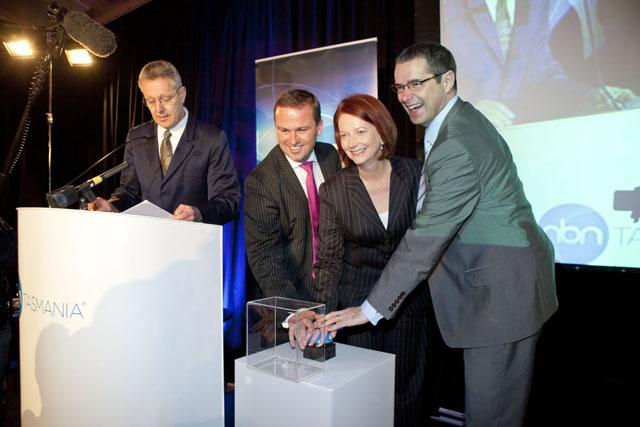 Prime Minister Julia Gillard, Communications Minister Stephen Conroy and Tasmanian Premier David Bartlett launching the National Broadband Network in Tasmania earlier this year.