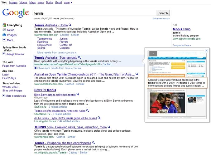 Google search now has visual snapshots of results pages