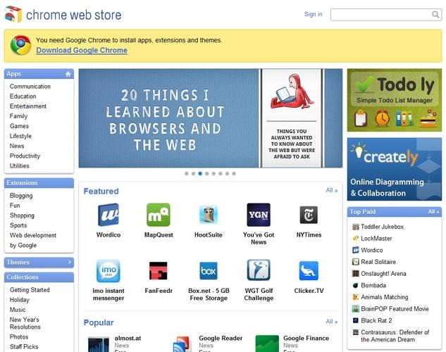 Google Chrome's Web app store