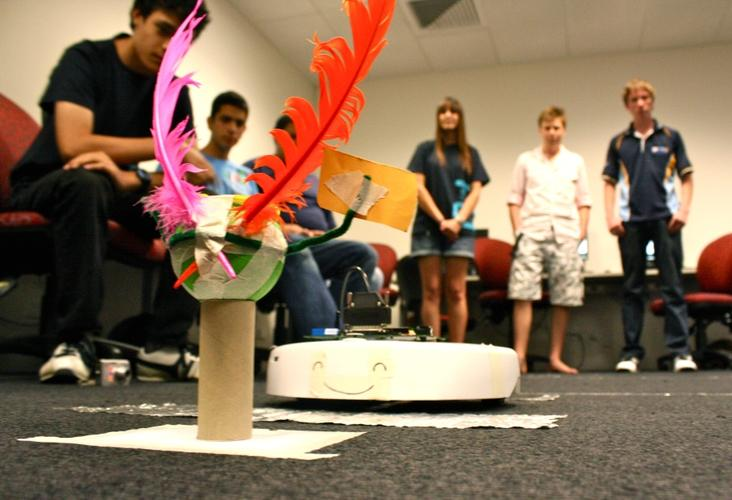 The iRobots prepare for rescue at the University of Sydney's IT summer school challenge