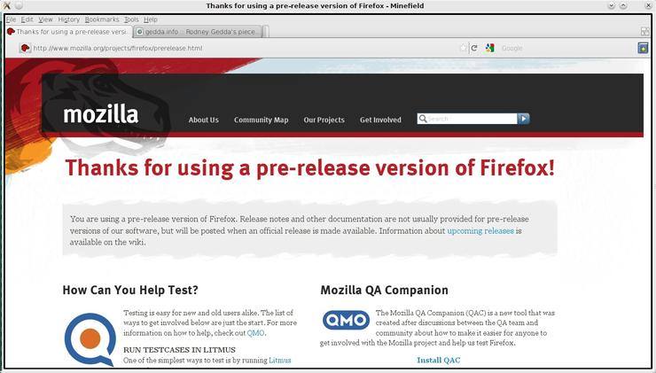 "A development version of Firefox 4, dubbed ""Minefield"", built with the Qt toolkit"