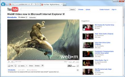 Google has issued a plug-in for Internet Explorer 9 that plays videos in the WebM video format
