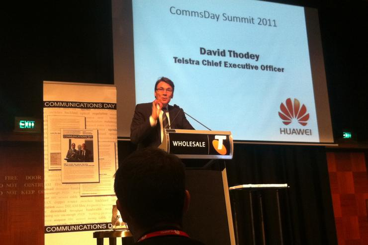 Telstra chief executive, David Thodey, presents to Commsday Summit 2011 in Sydney