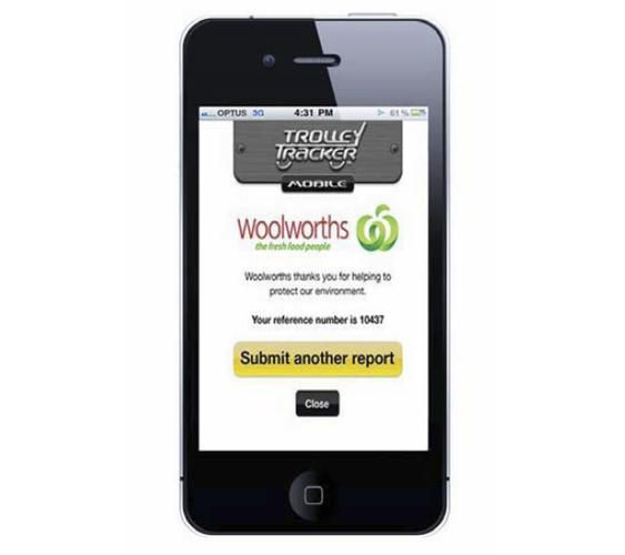 The Trolley Tracker mobile app can locate a lost trolley for Woolworths to collect