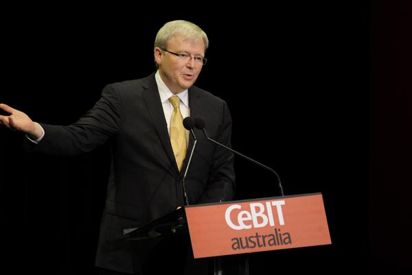 Australian Foreign Minister, Kevin Rudd, announcing the 11 mobile technology grants at CeBIT in Sydney.