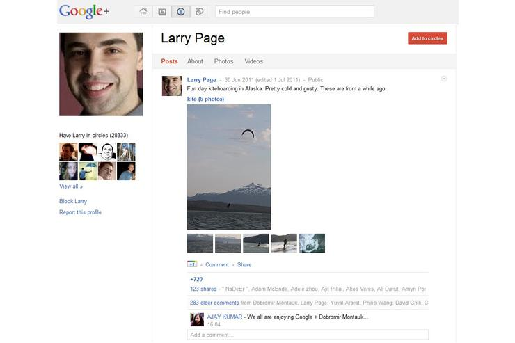 The Google+ page of Google founder Larry Page.