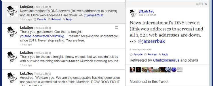 The LulzSec tweet as News International's DNS servers go down stopping access to the company's websites and e-mail