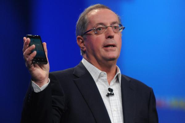 Intel CEO Paul Otellini introducing a smartphone at the Intel Developer Forum this year.