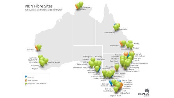 NBN fibre sites. <i>Image credit: NBN Co.</i>