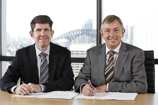 Salmat ANZ chief executive officer, Grant Harrod, with Avaya ANZ managing director, Rob Wells.