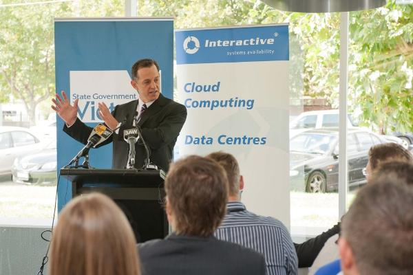 Interactive Groundbreaking Ceremony: Interactive managing director, Christopher Ride, presenting to staff and customers.