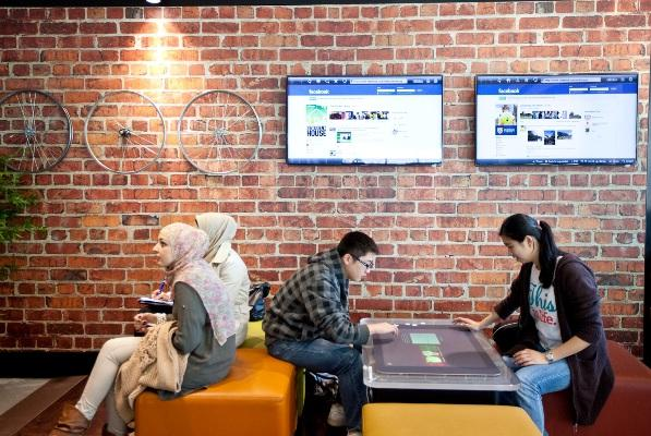 The university's Microsoft Lounge incorporates touch-screen technology.