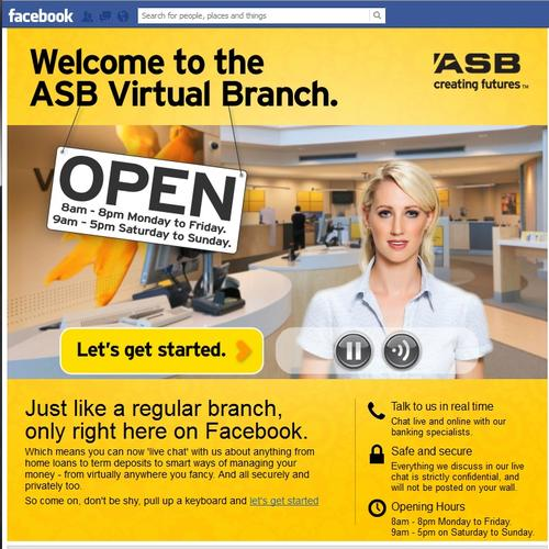 A virtual teller greets customers to the ASB Facebook branch.