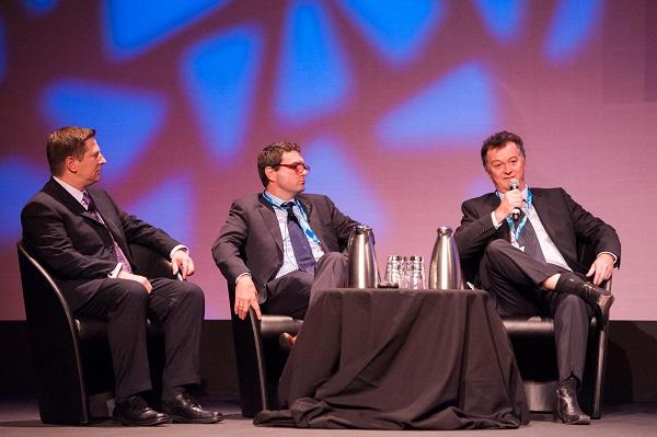 Endeavour Energy CIO, Ian Robinson, (right) speaking at CA Expo 2012 in Sydney. Also on the panel was CA Technologies global presales vice president, Trevor A.Bunker, and Visa Asia Pacific director of eCommerce, Justin Roche.