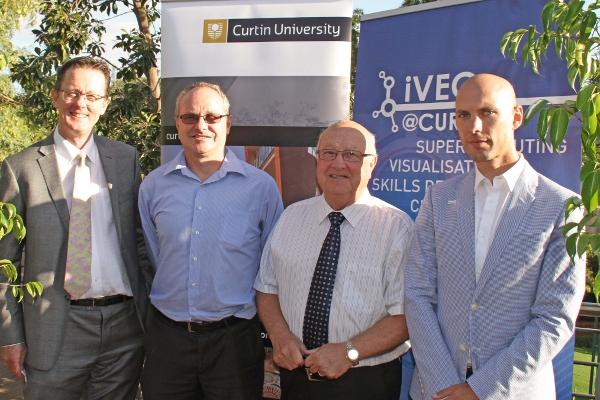 From left to right: Professor Graeme Wright, Curtin University deputy vice-chancellor research and development; Professor Andrew Rohl, Curtin University researcher; Mal Bryce, iVEC chairman; Florian Goessmann, iVEC@Curtin director