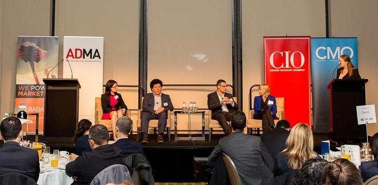 From left: Deakin University's Trisca Scott-Branagan, Australian Museum's Jason Wong, Vision Australia's Cameron Smith, ANZ's Amanda Gome and CMO and CIO magazine editor, Nadia Cameron