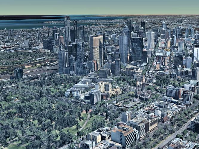 Nearmap 3D imagery of Melbourne's CBD