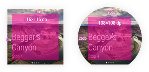 Android Wear UI on square and round display.