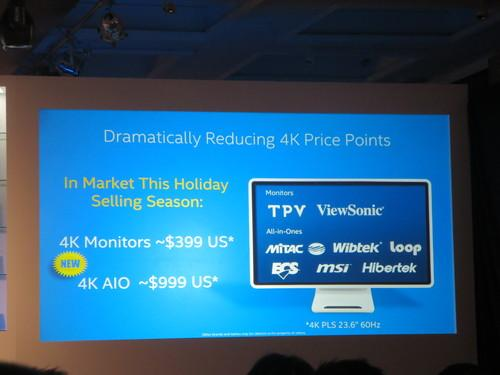 Intel slide for sub-$400 4K monitors during Kirk Skaugen keynote