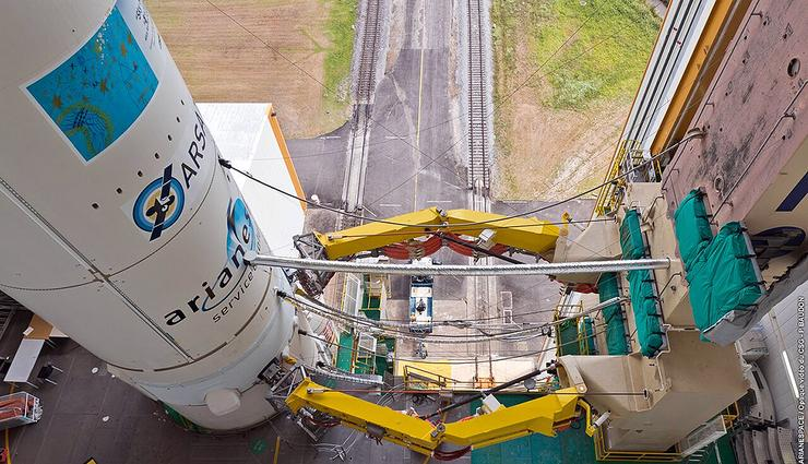 Sky Muster on its launch pad in French Guiana