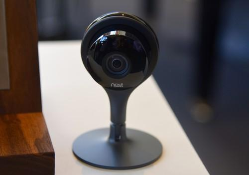 Nest's new Internet connected camera on show at a company event in San Francisco on June 17, 2015.