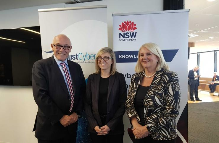 From left: NSW Minister for Finance and Small Business Damien Tudehope, Michelle Price (AustCyber) and Federal Minister for Industry, Science and Technology Karen Andrews.