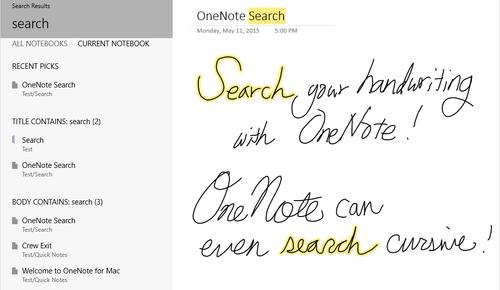 Microsoft added the ability to search handwritten OneNote notes that are saved in OneDrive.
