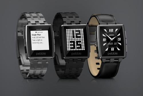 Trio of Pebble Steel smartwatches