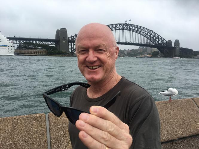 Inamo CEO Peter Colbert with a pair of WaveShades