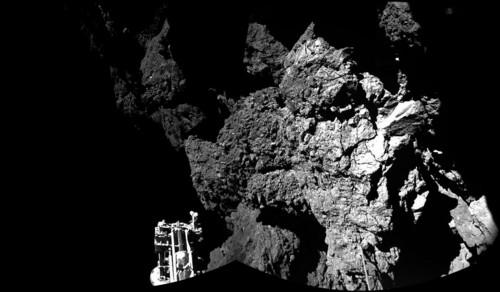 The Philae lander of the European Space Agency's Rosetta mission is on the surface of Comet 67P/Churyumov-Gerasimenko, as this image from the lander's CIVA camera shows.
