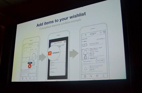 A Pinterest slide at a conference held in San Francisco on June 1, 2015, showed, hypothetically, how Amazon might incorporate its Wish List function into Pinterest.