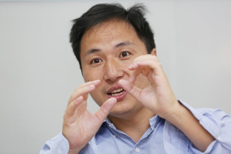 Scientist He Jiankui speaks at his company Direct Genomics in Shenzhen, Guangdong province, China July 18, 2017 (Reuters)