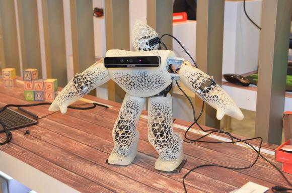 A robot that uses Intel's RealSense for computer vision. Photo: James Niccolai