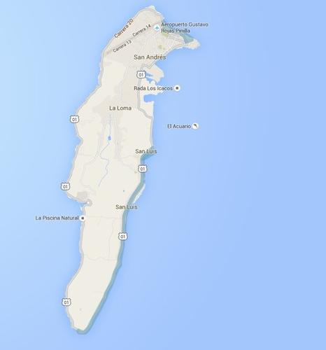 The tiny island of San Andres in the Caribbean, where Street View covers only part it, pictured July 2, 2015.