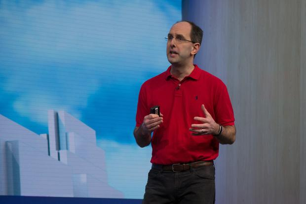 Microsoft Executive Vice President Scott Guthrie speaks at the company's Build developer conference in San Francisco on March 31, 2016. Credit: Blair Hanley Frank