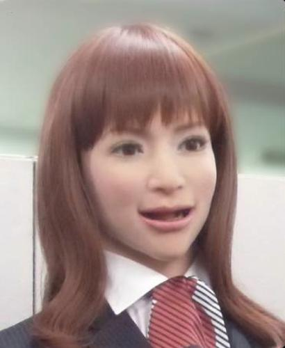 A theme park near Nagasaki in southern Japan will open a smart hotel featuring female androids that greet guests. This publicity shot from robot maker Kokoro, which will participate in the hotel, shows an Actroid android.