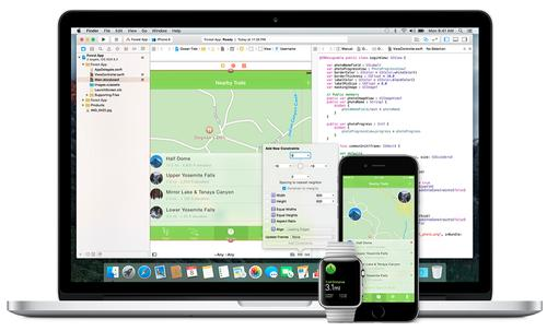 Apple's Xcode development environment, plus iOS and Apple Watch apps