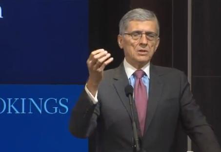 U.S. Federal Communications Commission Chairman Tom Wheeler speaks about the benefits of broadband at the Brookings Institute on June 26, 2015.