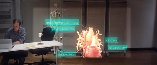 A Microsoft promotional video still that shows the HoloLens's field of view limitations