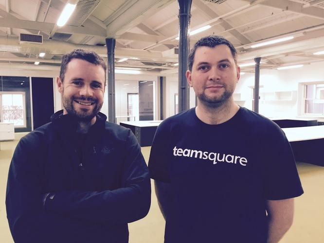 Sebastien Eckersley-Maslin, CEO and founder of BlueChilli, and Michael Shimmins, co-founder of Teamsquare, at the new office in Melbourne.