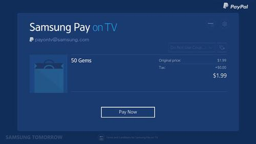 Samsung Pay on TV lets users make payments on some of the company's smart TVs.