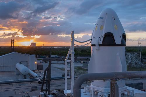 SpaceX's Dragon spacecraft on the launchpad.
