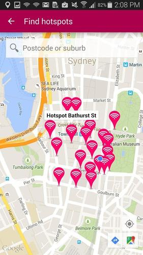 The Telstra Air app lets users find Fon W-Fi hotspots in Australia and abroad.
