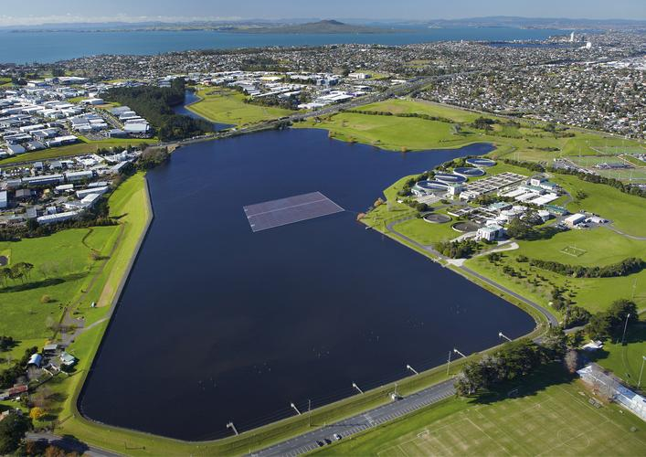 Artist impression of the Rosedale Waste Water Treatment Plant Floating Solar Array in Auckland's North Shore