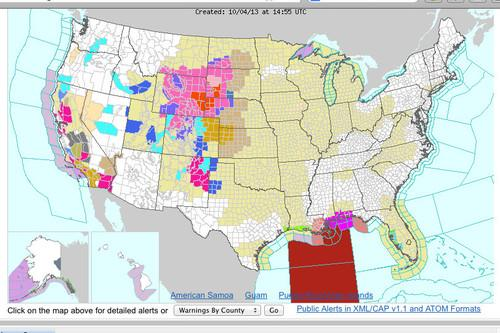 The U.S. National Weather Service's, Weather.gov, displays weather alerts Friday, despite a government shutdown.