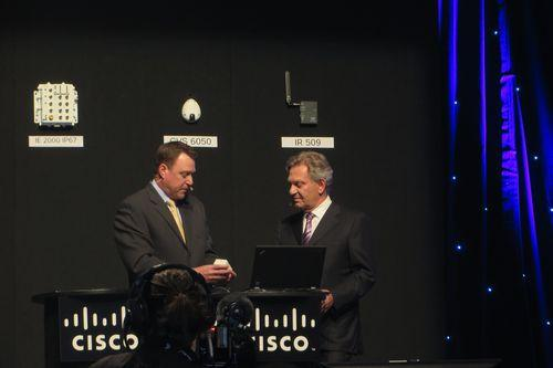 Cisco chief globalisation officer, Wim Elfrink (right) inspects Cisco's latest sensors.