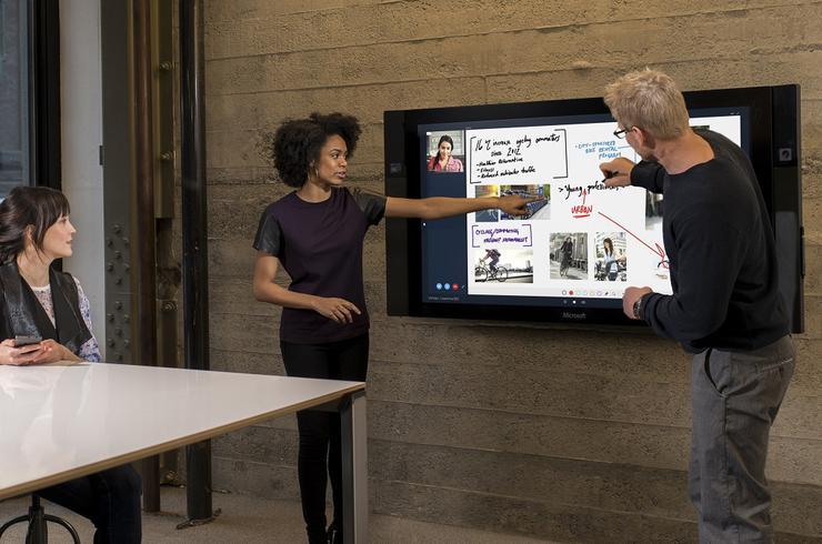 The Microsoft Surface Hub combines a digital whiteboard with videoconferencing. Credit: Microsoft