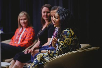 At a Microsoft Women in Technology forum: Donna Wright, Business Planning Director – Microsoft; Sonia Cuff, Technology Consultant; Damian Sharkey, Workstream Director - Westpac NZ; and Nuwanthi Samarakone, CEO - ICE Professionals.