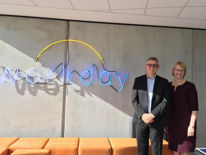 Rob Wells, managing director, Australia and New Zealand, and Chris Byrne, SVP global operations and support at Workday, at the company's global support centre in Auckland (photo by Divina Paredes)