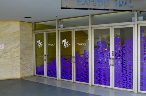 The doors of the Nob Hill Masonic Center in San Francisco, where Yahoo held its first mobile developer conference on Feb. 19, 2015.